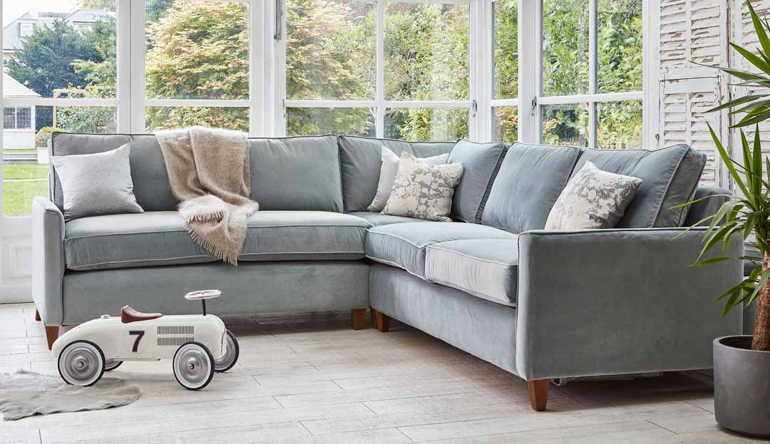 Product photograph showing Hayes 2 X 2 Seater Corner Sofa Bed