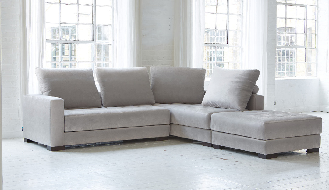 Product photograph showing Morellia Modular 3x1 Seater Corner Sofa With Large Footstool Mb1 Mb1 Puf100