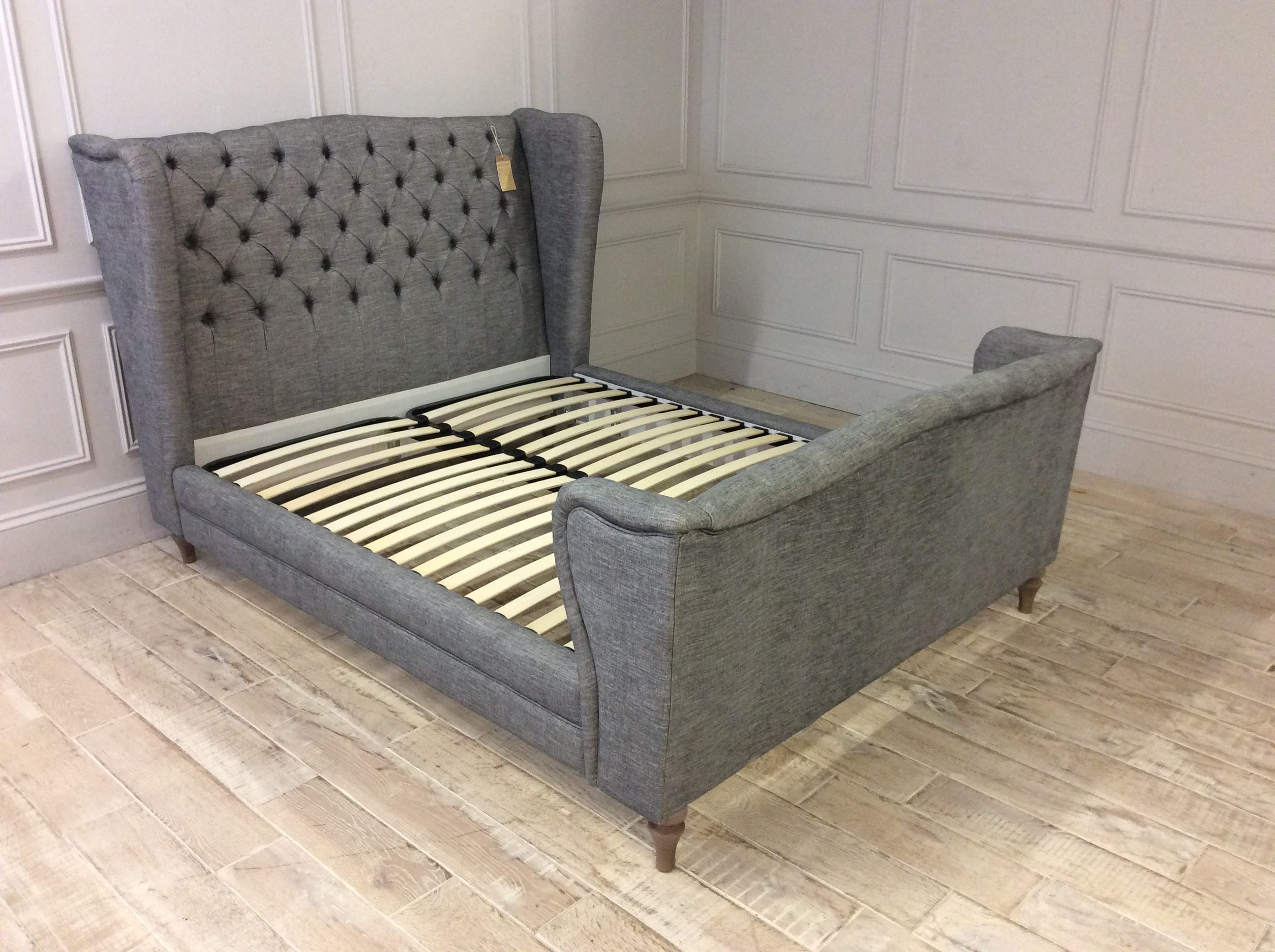Product photograph showing Leamore King Size Bedframe In Kalahari - Charcoal