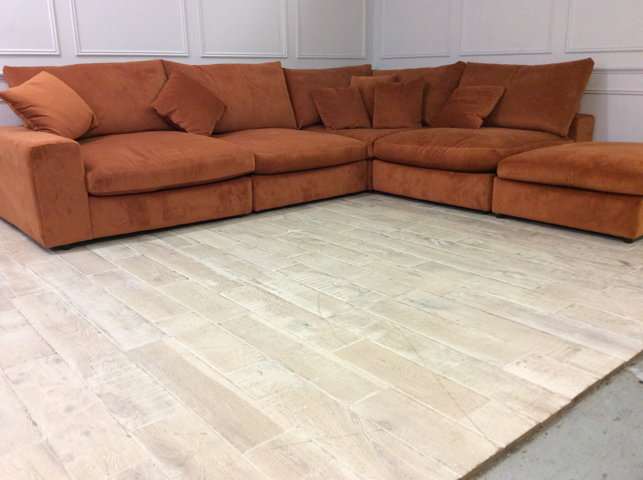 Product photograph showing Haymarket Extra Deep Large Corner Sofa In Soho Tangerine