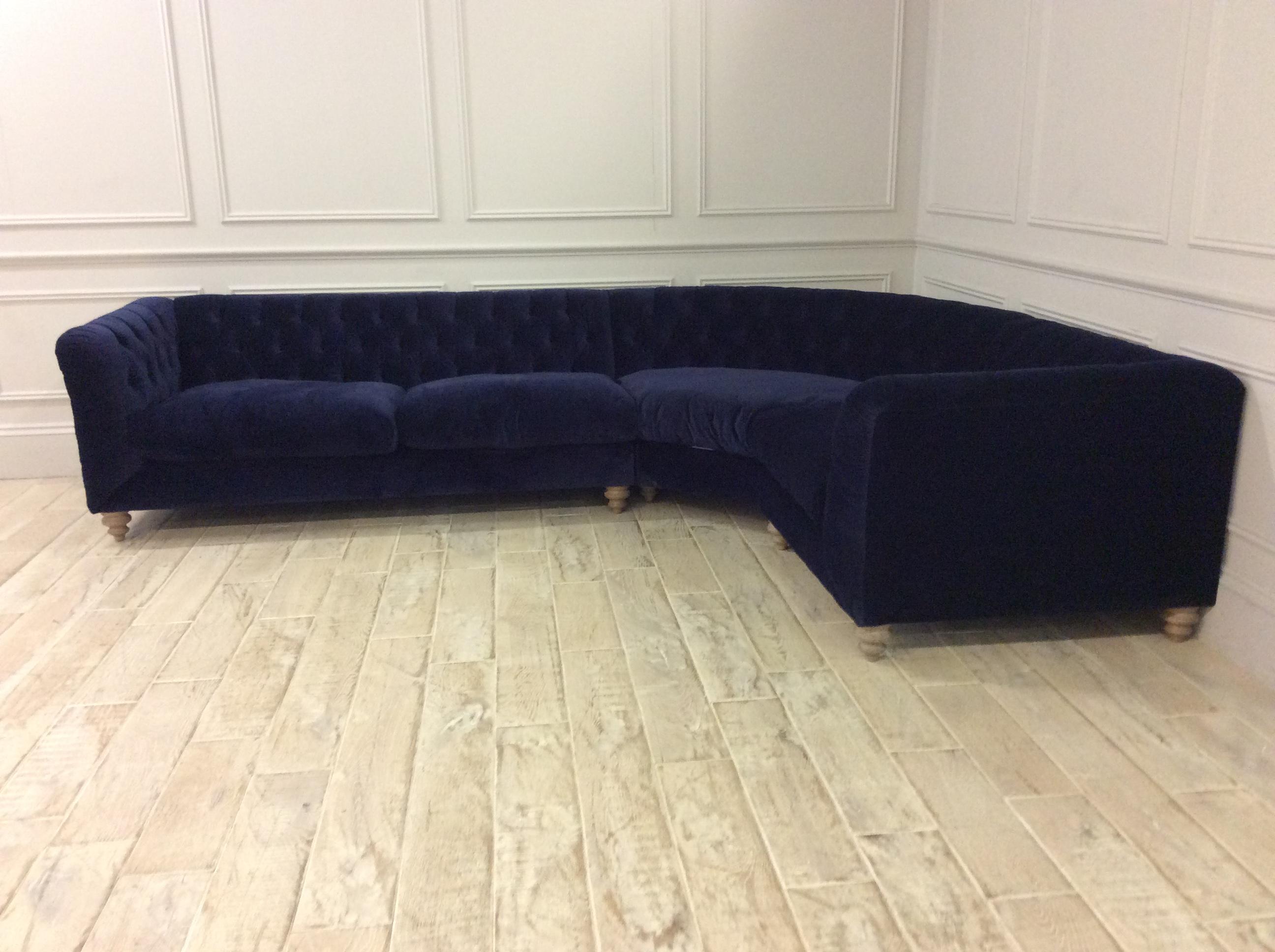 Product photograph showing Dulwich Medium Corner Sofa In Turmeric Velvet