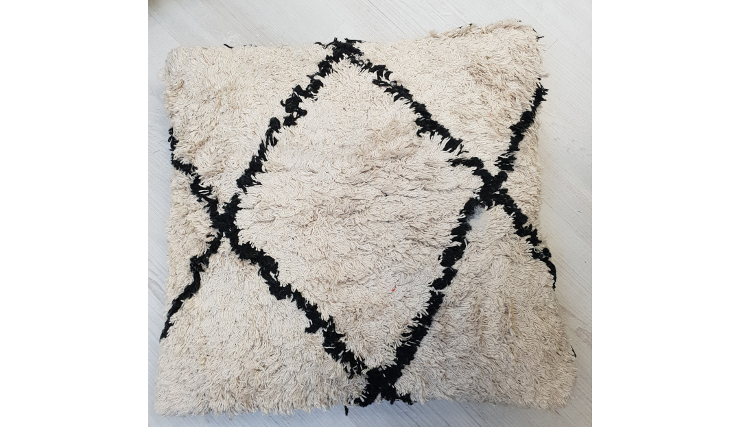 Product photograph showing Parsons Green - Tku2065 Cotton Diamond Cushion Fluffy 50x50cm