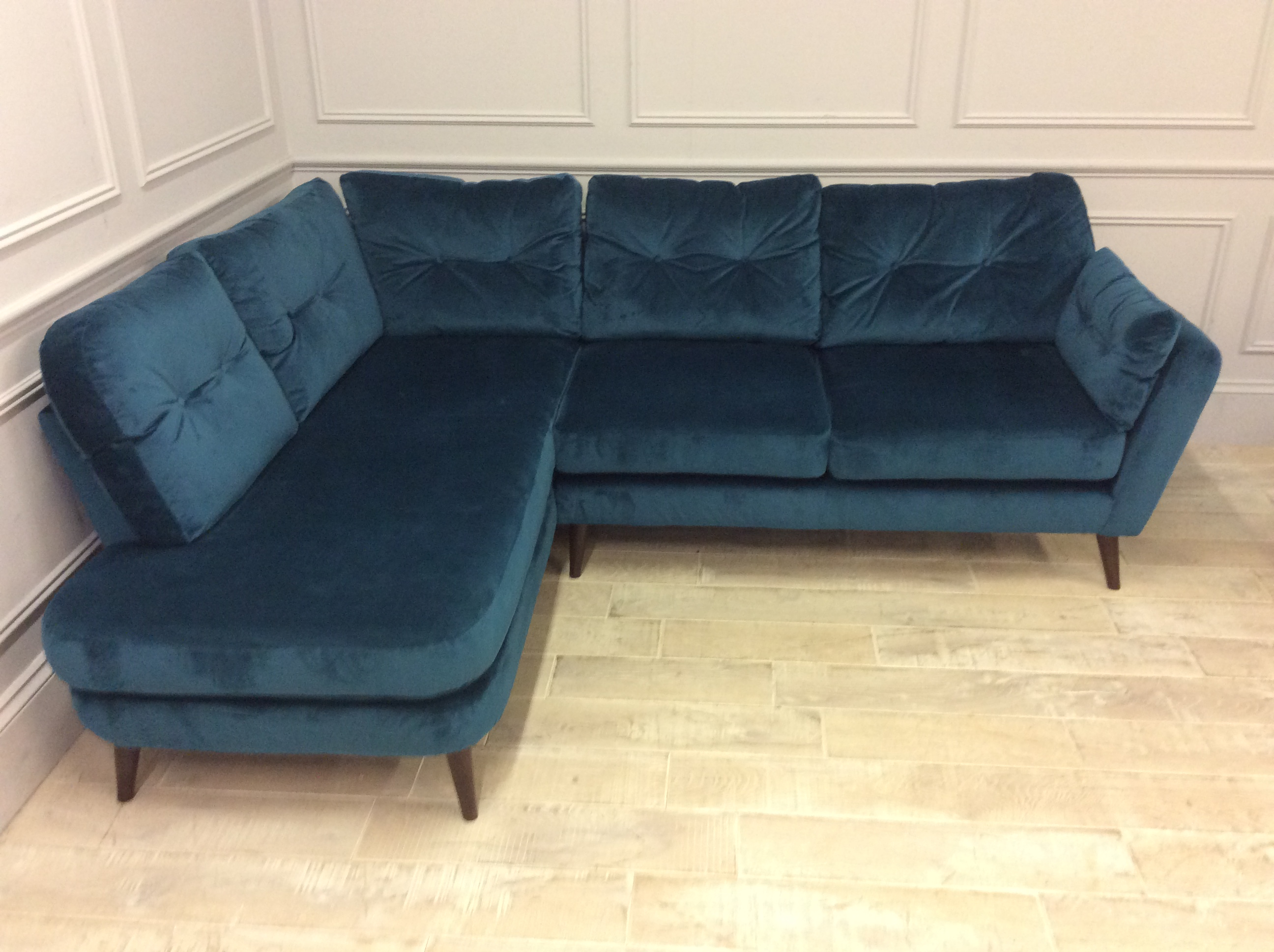 Product photograph showing Studio Corner Sofa With Left Chaise In Lumino Velvet - Teal B