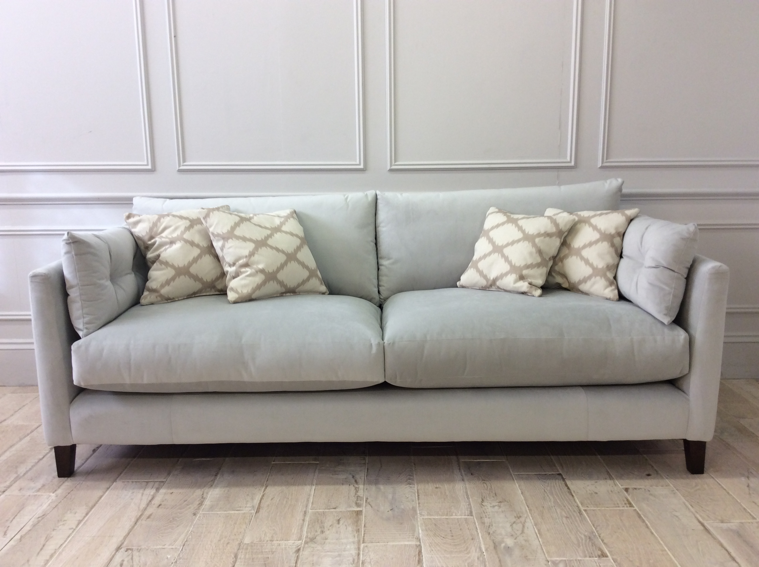 Product photograph showing Babbington Large Sofa In Hard Wearing Velvet Silver