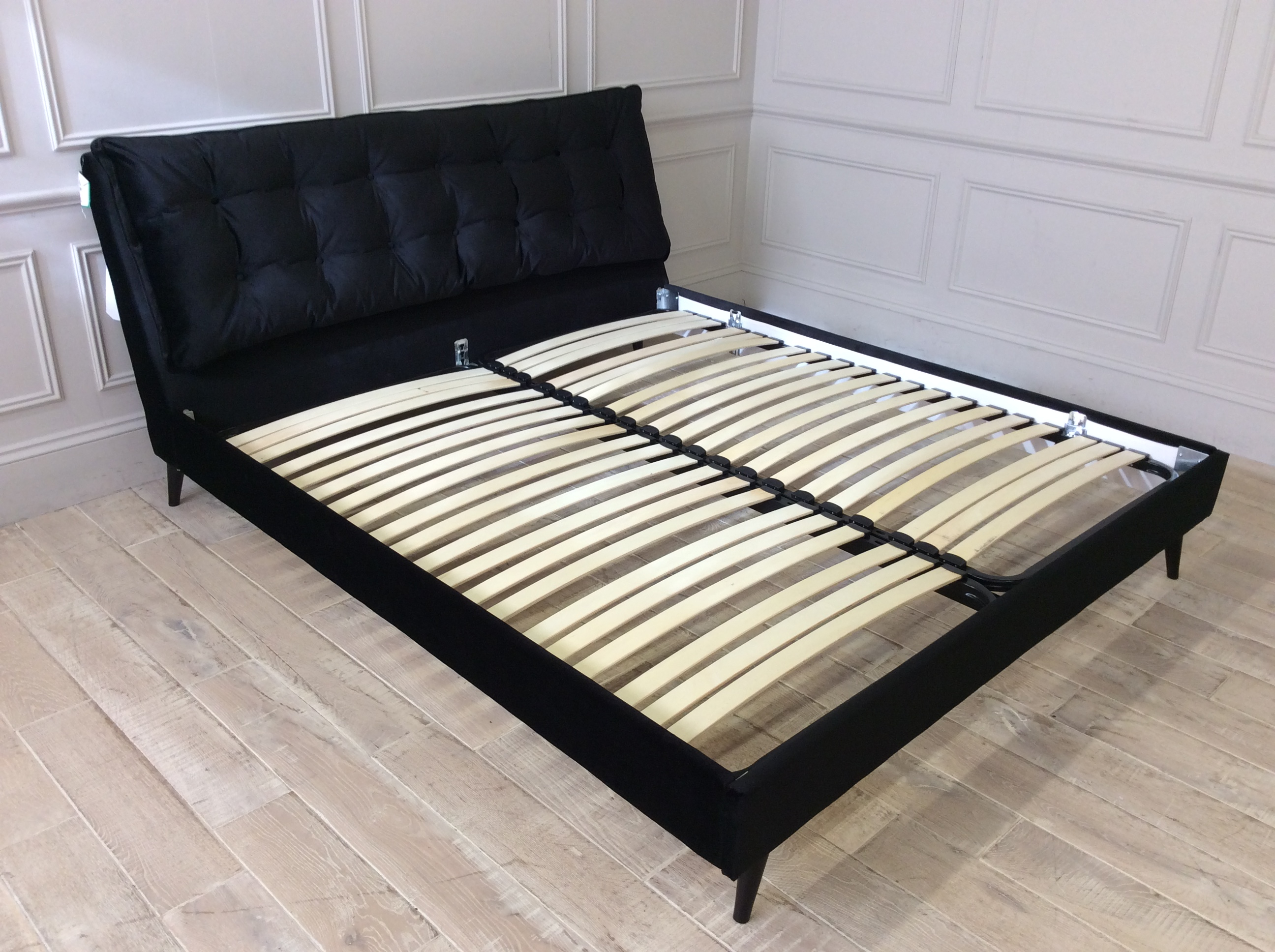 Product photograph showing Northcote Superking Bed Frame In Mystic Black Velvet