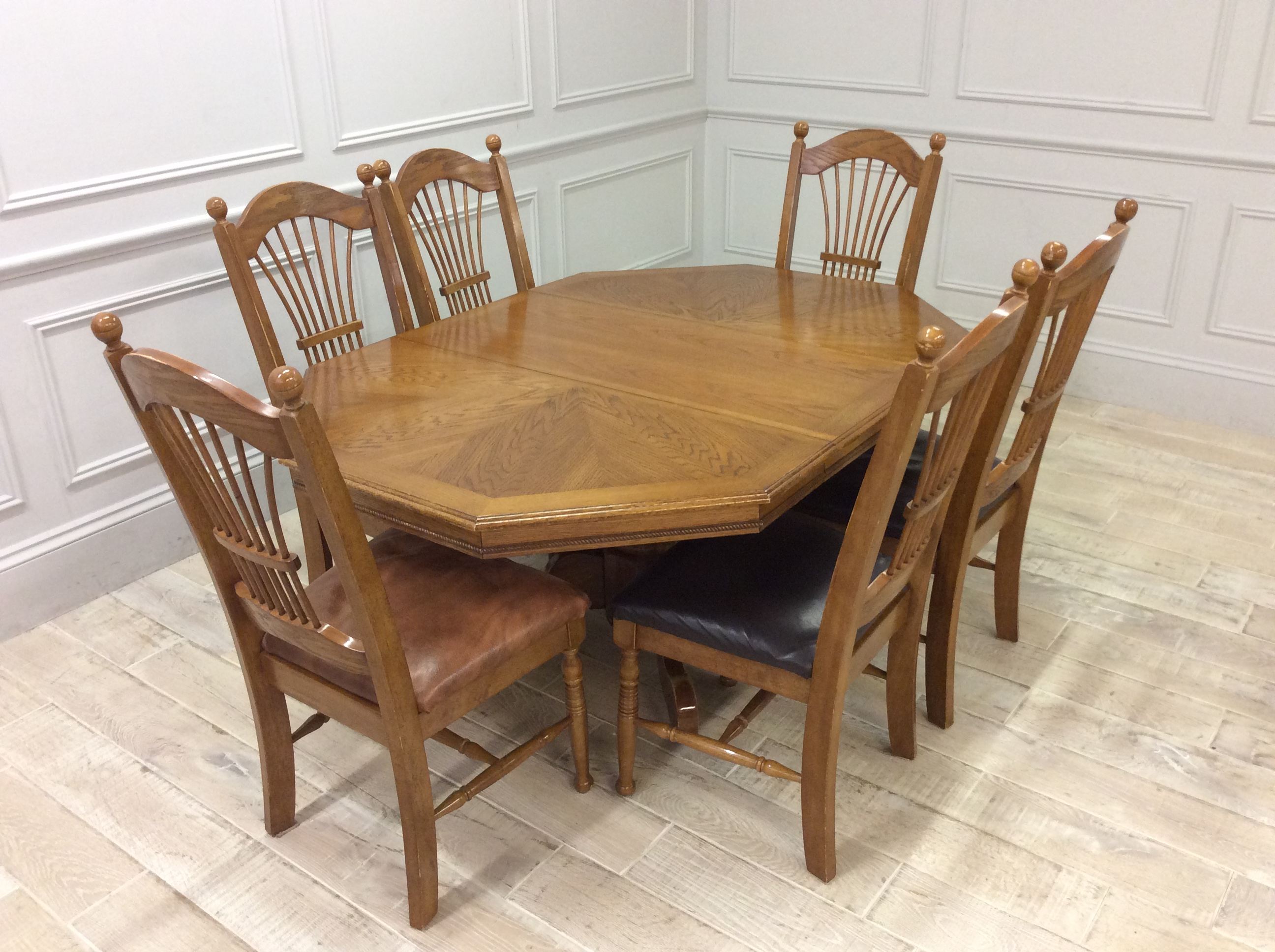 Product photograph showing Wooden Octagonal Dining Table With Dining Chairs