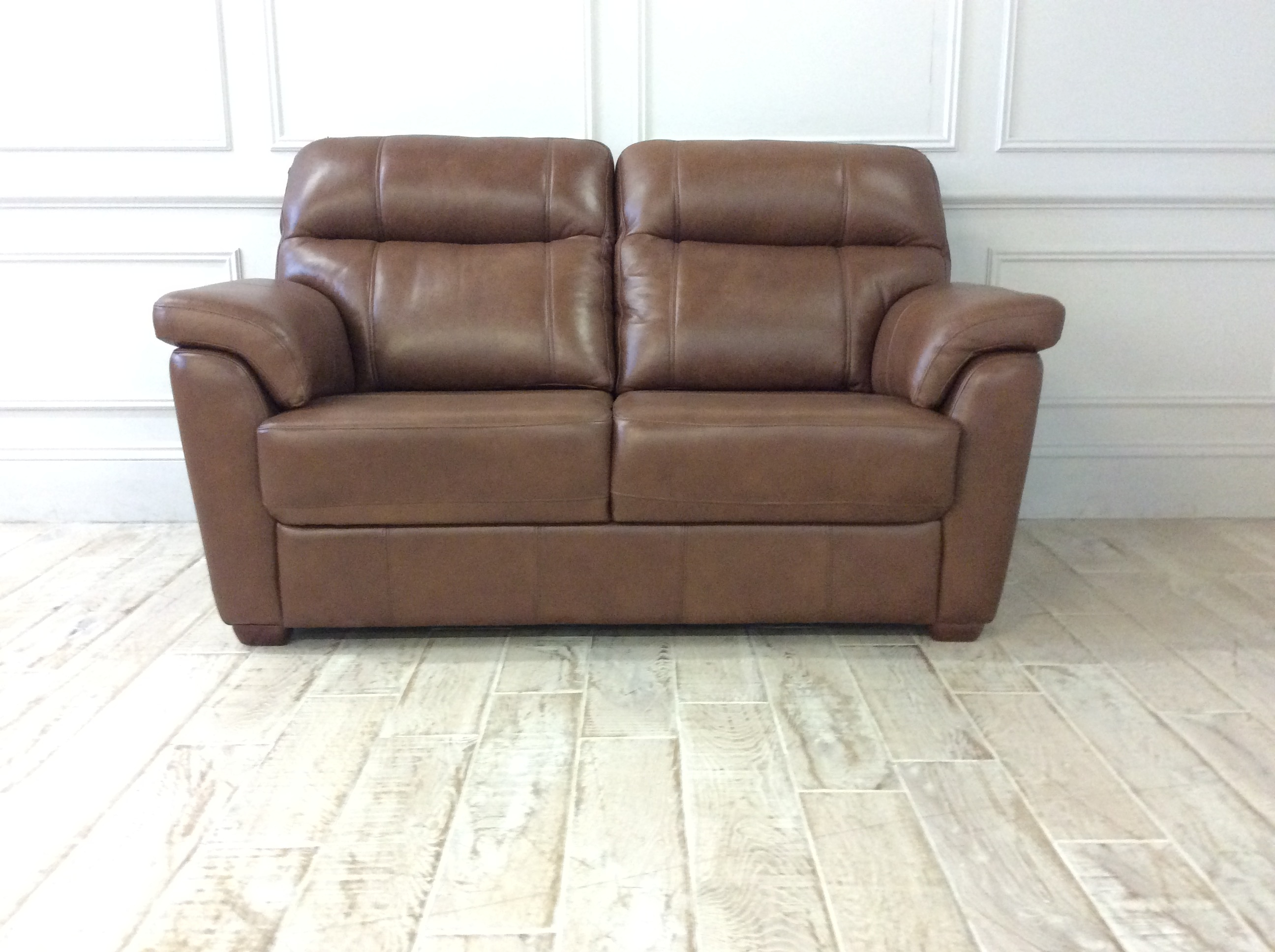 Product photograph showing Ashby 2 Seater Sofa In Byron Leather Tumbleweed