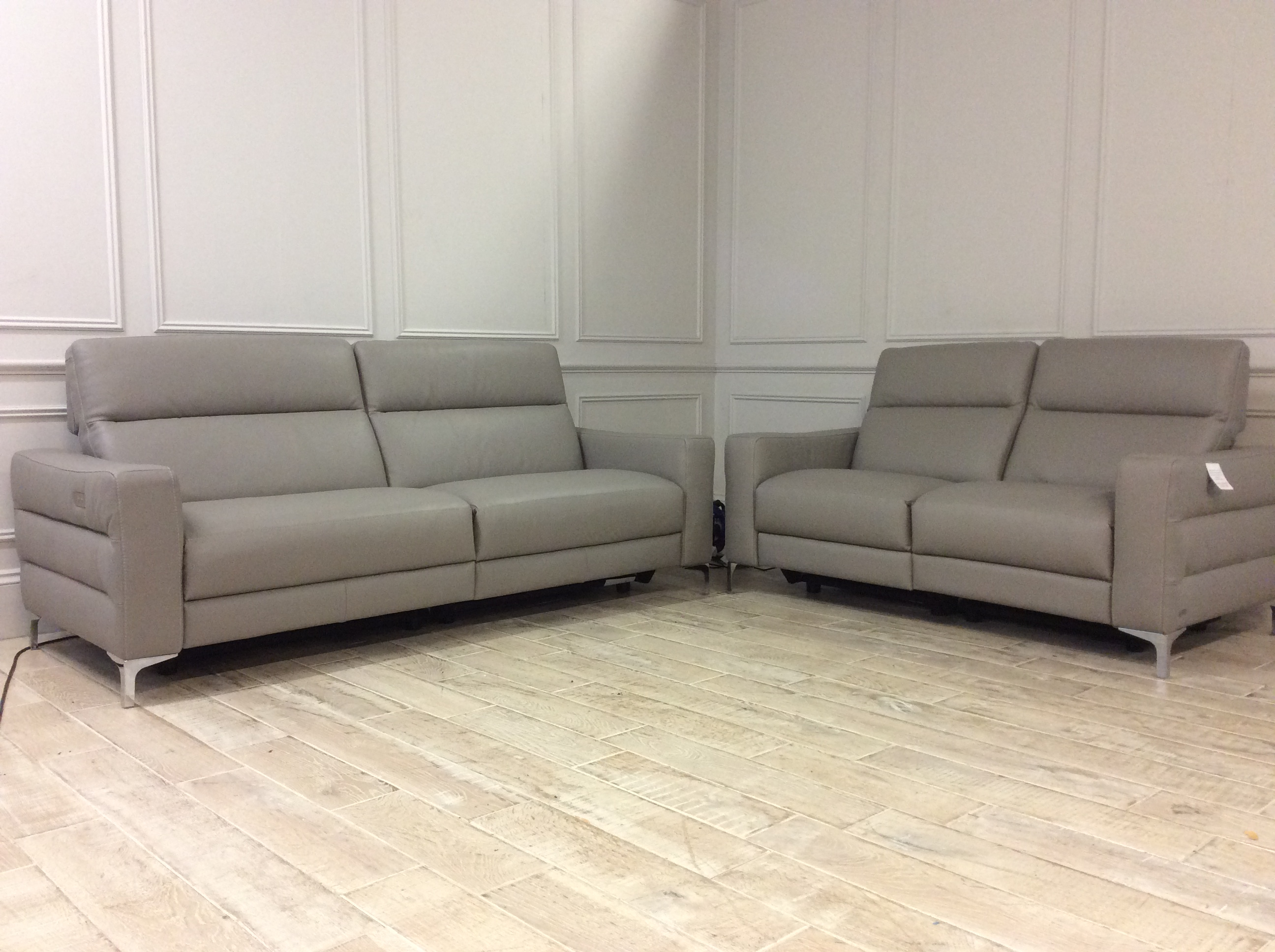 Product photograph showing 1 X Orlando 3str Sofa 1 X 2str Both With Electric Recliners In 10bk