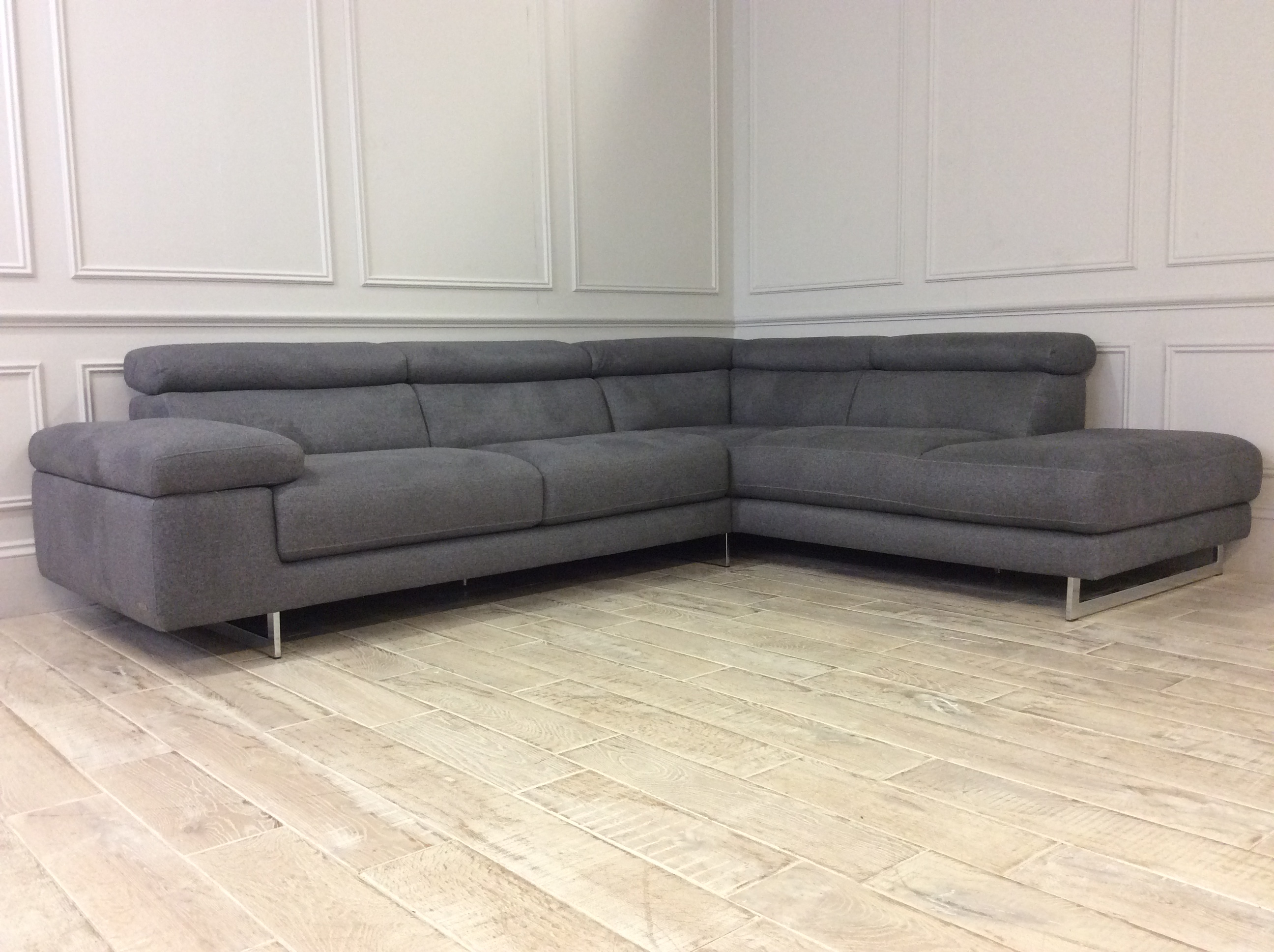 Product photograph showing Milano Fabric Corner Chaise Sofa - Left In Levante 02 Disabled For Customer