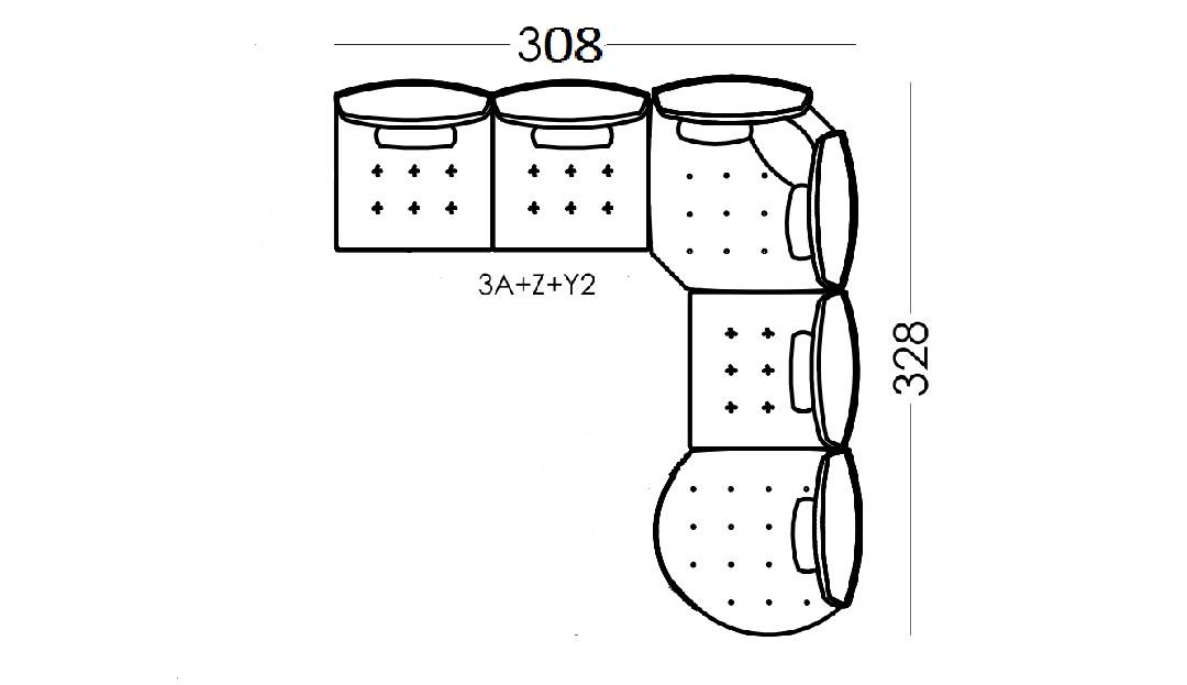 Alice Modular Large Corner Sofa with Curved Finish