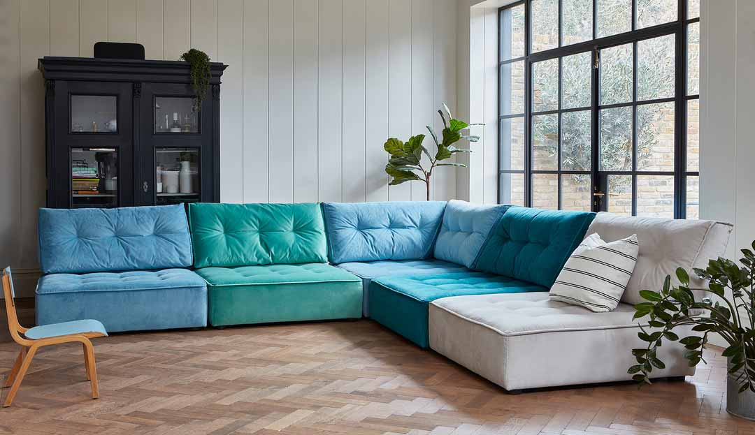 the alice modular sofa in easy clean plush velvet