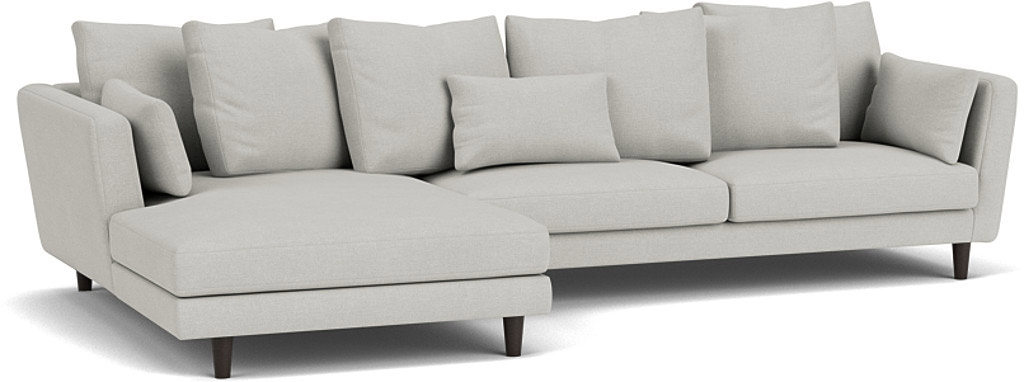 the amy chaise sofa in easy clean soft as cotton cambridge blue with wenge feet