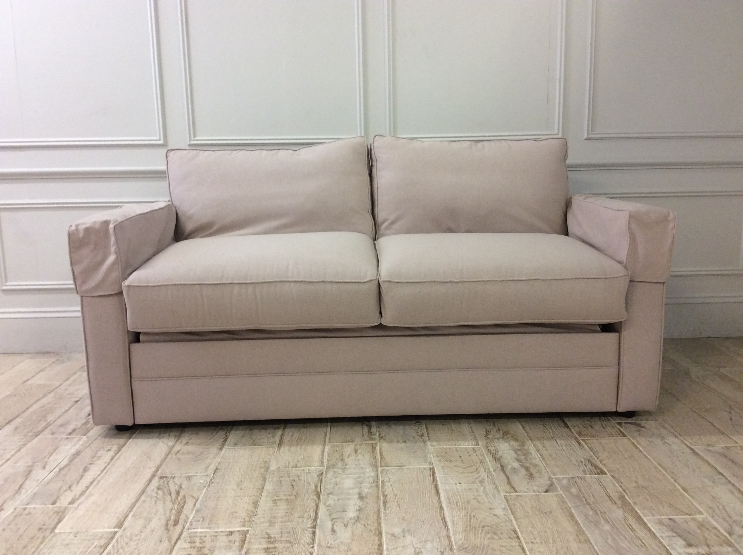 Product photograph showing Bromley 3 Seater Sofa Bed In Stain Resistant House Wool - Parchment