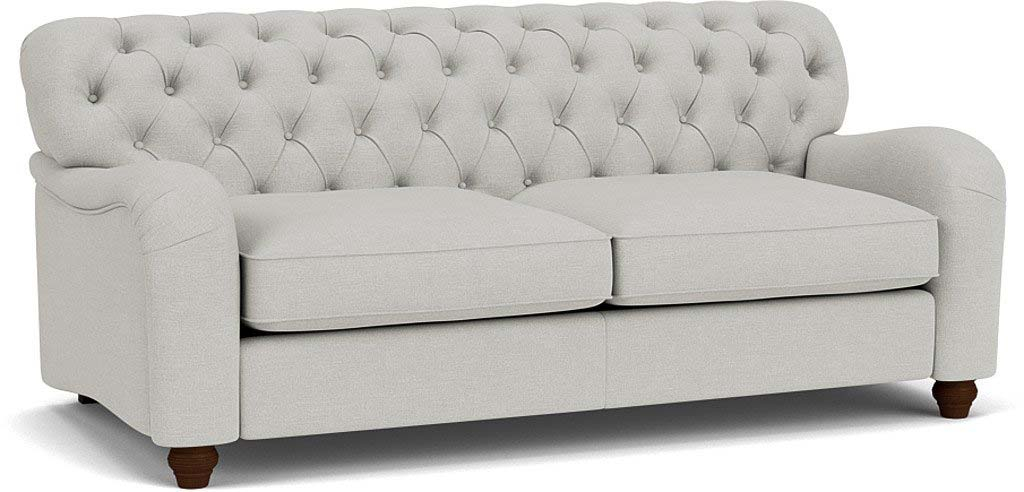 the bakewell 3.5 seater sofa in easy clean soft as cotton cambridge blue with dark oak feet