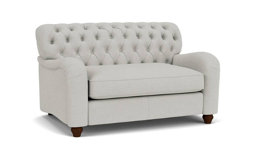 the bakewell loveseat sofa in easy clean soft as cotton cambridge blue with dark oak feet