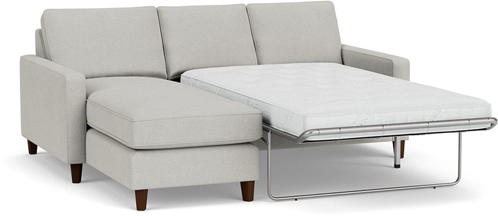 the beckenham 2 seater chaise sofa bed in easy clean soft as cotton cambridge blue with dark oak feet