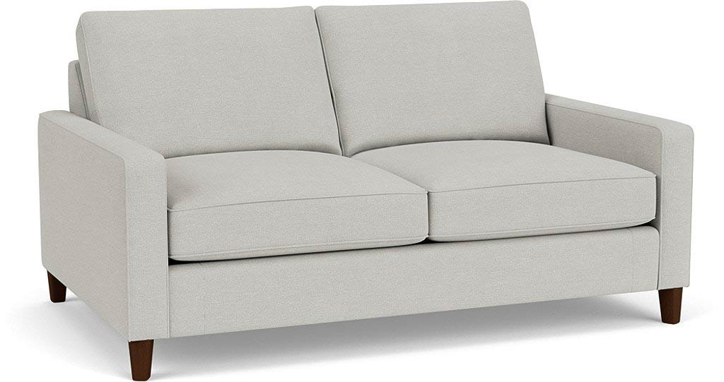the beckenham 3.5 seater sofa in easy clean soft as cotton cambridge blue with dark oak feet