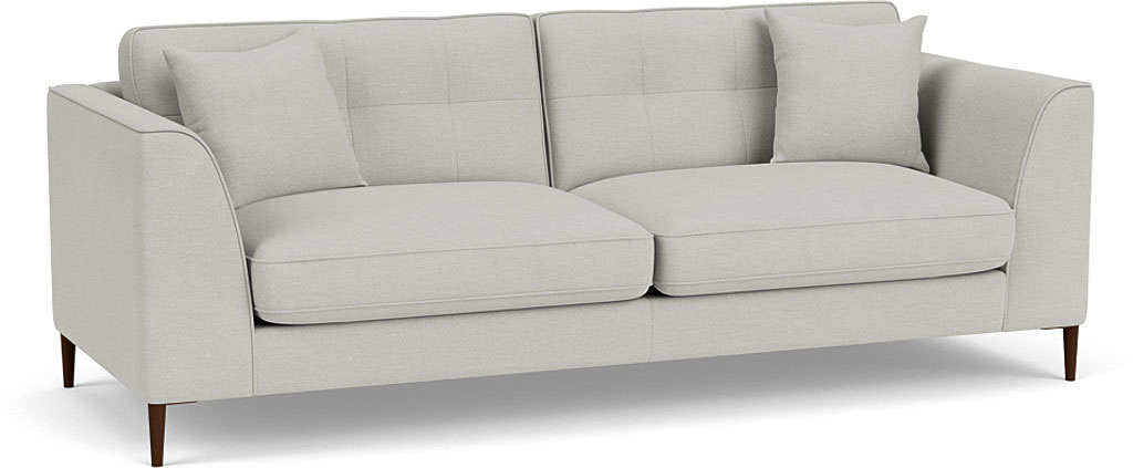 the bembridge extra large sofa in easy clean soft as otton cambridge blue with dark oak feet
