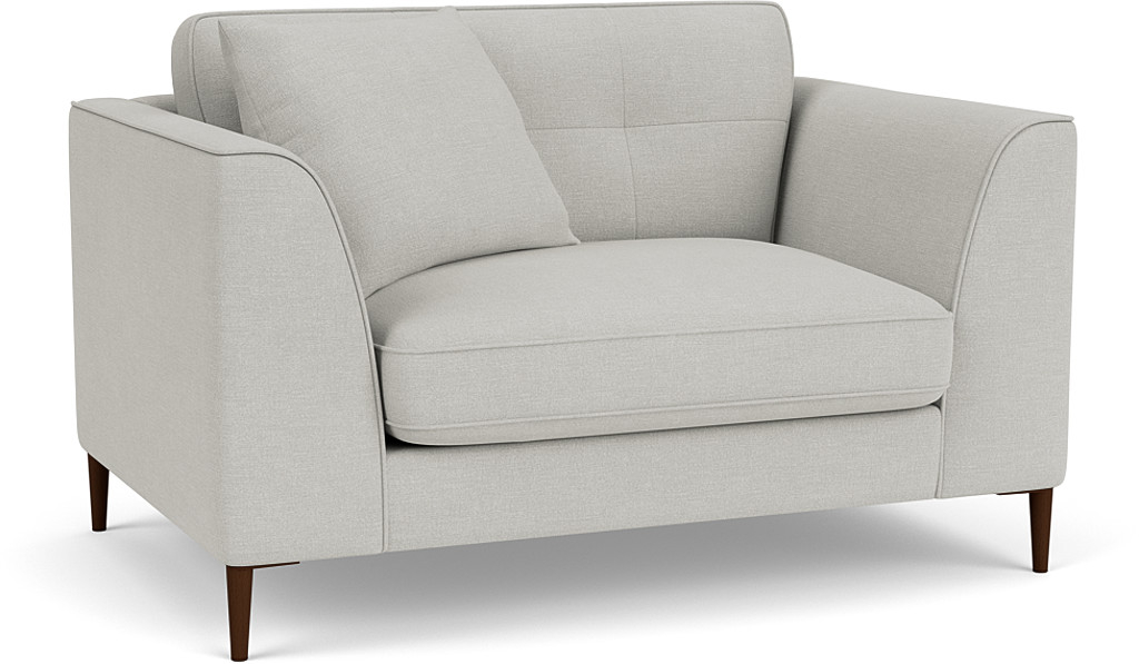 the bembridge standard back loveseat sofa in easy clean soft as cotton cambridge blue with dark oak feet