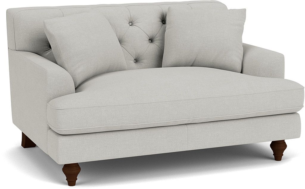 the charnwood loveseat in easy clean soft as cotton cambridge blue with dark oak feet