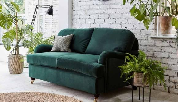 The Helston 2 Seater Sofa Bed in Easy Clean Plush Velvet Hunter