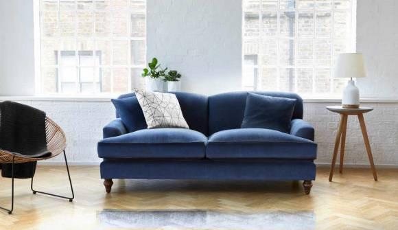 the galloway medium sofa in easy clean plush velvet wedgewood with medium oak feet