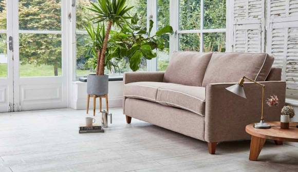 The Hayes 3.5 Seater Sofa Bed in Stain Resistant Hardy Linen Pumice with Stain Resistant Moleskin Velvet Moonstone Contrast Pipping