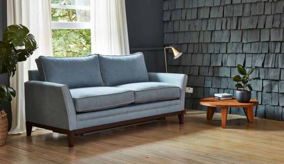The Exmouth 3 Seater Sofa Bed in Easy Clean Soft as Cotton in Powder Blue with Easy Clean PLush Velvet Platinum Contrast Pipping