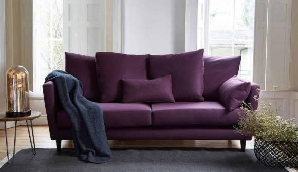 the amy medium sofa in easy clean plush velvey aubergine with wenge feet