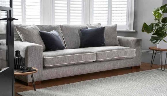 the ashdown medium sofa in hopsack french grey with dark oak feet