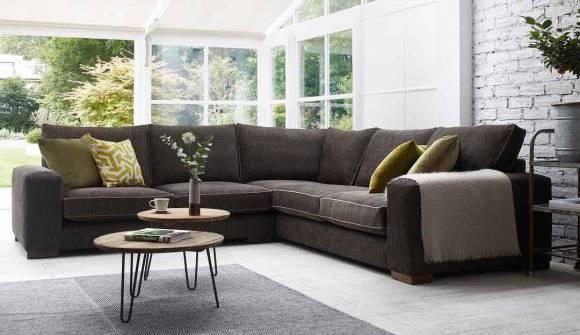 the ashdown corner sofa in tweed granola with dark oak feet