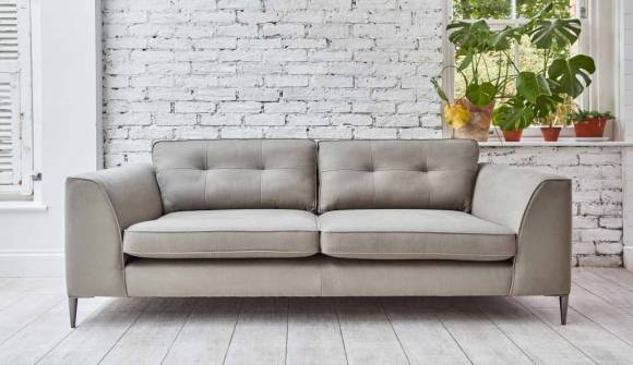 the bembridge extra large sofa in stain resistant viscose cotton pistachio  with chrome feet