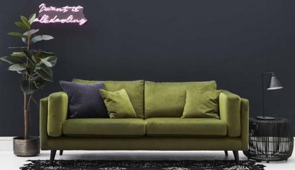 the brighton large sofa in easy clean plush velvet juniper with wenge feet