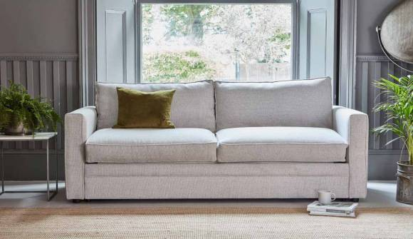 The Bromley 3.5 Seater Sofa Bed in Broad Weave Linen Bone
