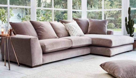 the devon chaise sofa in easy clean plush velvet liver with dark oak feet