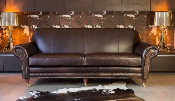 the chelsea large sofa in hardwearing heritage leather bark with dark oak feet