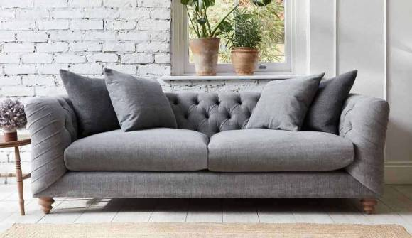 the dulwich midi sofa in easy clean soft as cotton mist with grey wash feet
