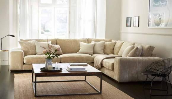 the epping corner sofa in stain resistant crushed velvet hessian with dark oak feet