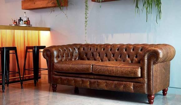 the harrington 3 seater sofa in distressed vintage aniline truffle with dark oak feet
