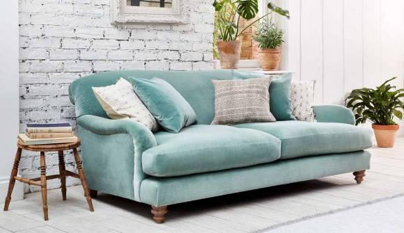 the harrow midi sofa in stain resistant cotton velvet surf with light oak feet