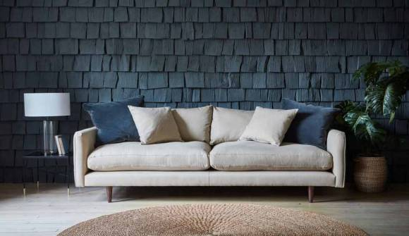 the kelston large sofa in brushed cotton oat with dark oak feet