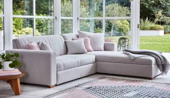 The Launceston 2 Seater Storage Chaise Sofa Bed in Herringbone Natural