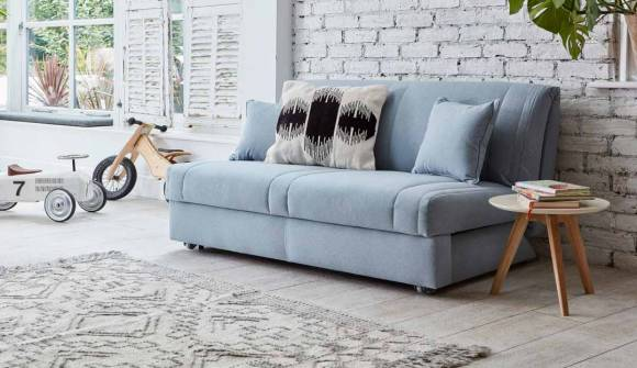 The Launceton No Arms 3 Seater Sofa Bed in Wool Peppermint