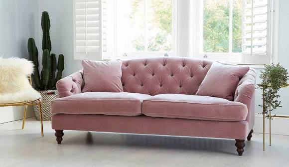 the paisley midi sofa in linen look velvet sorbet with dark oak feet