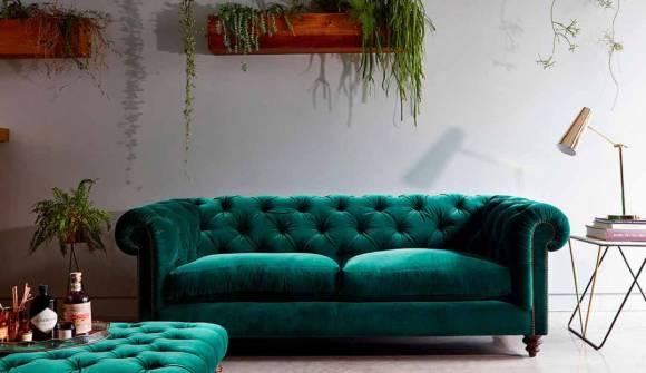 the stirling midi sofa in stain resistant moleskin velvet teal with dark oak feet