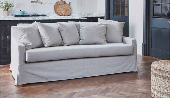 The Amesbury in washed linen sea salt with scatter back option
