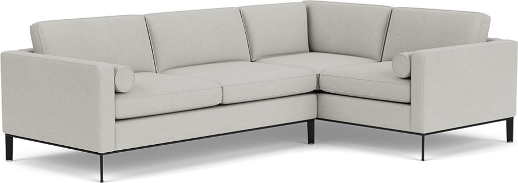 the brooklyn double corner sofa right in easy clean soft as cotton cambridge blue with black chrome feet