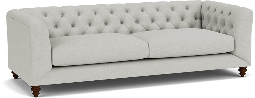 the dulwich grand sofa in easy clean soft as cotton cambridge blue with dark oak feet