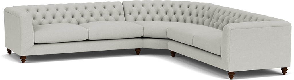 the dulwich large corner sofa in easy clean soft as cotton cambridge blue with dark oak feet