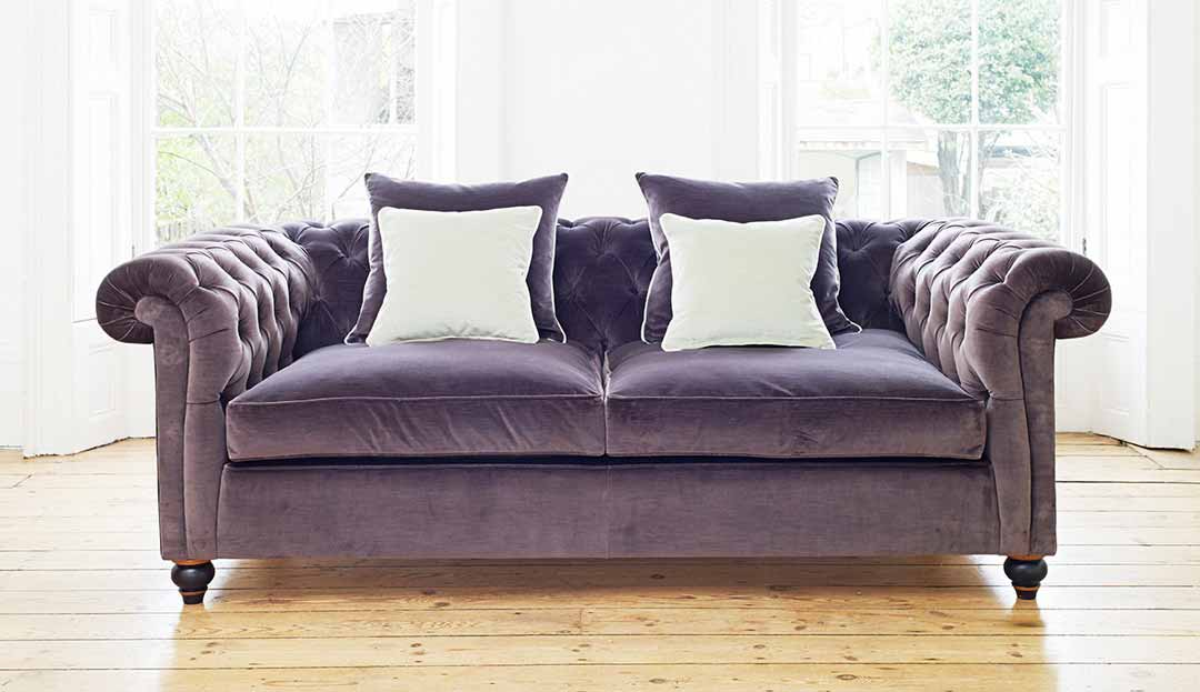 Connaught Medium Sofa in Brianza Velvet - Mole with scatter cushions in Brianza Velvet - Mole and Duck Egg